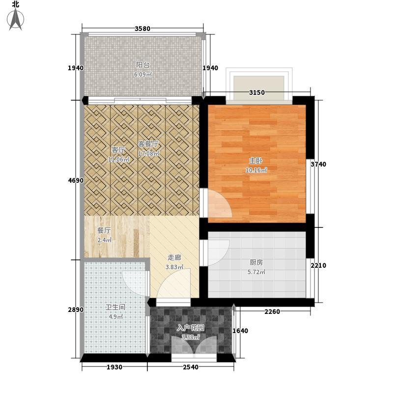 滨江花城54.23㎡5号楼一单元04-051室户型