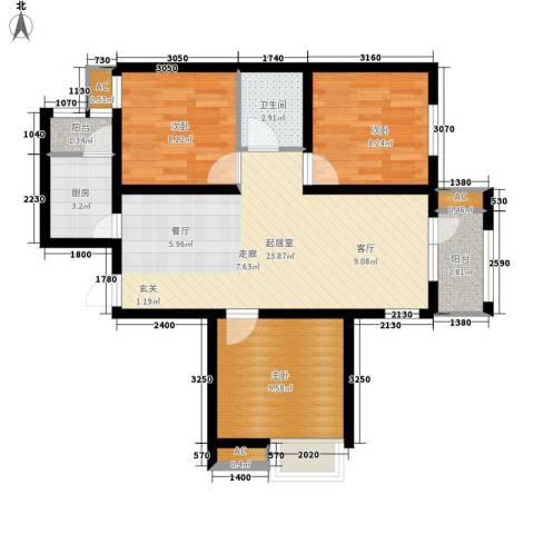 京汉铂寓3室0厅1卫1厨105.00㎡户型图
