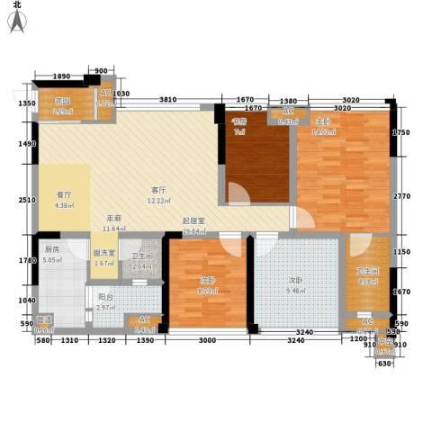 保利锦湖林语4室0厅2卫1厨105.00㎡户型图