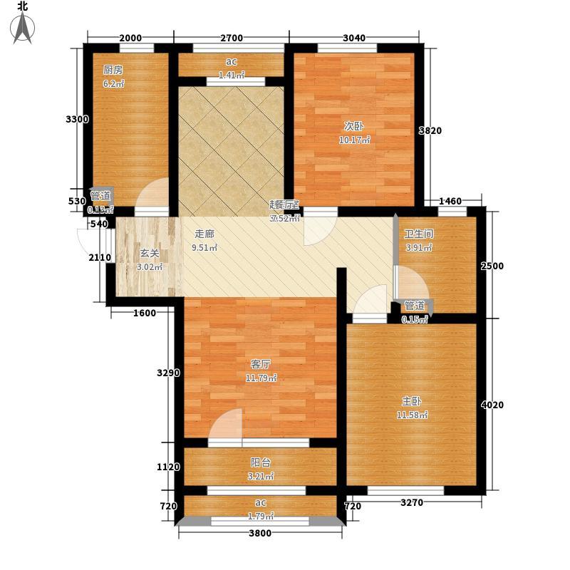 紫林湾101.18㎡1号楼C户型2室2厅