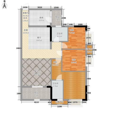 华侨城3室1厅2卫1厨132.00㎡户型图