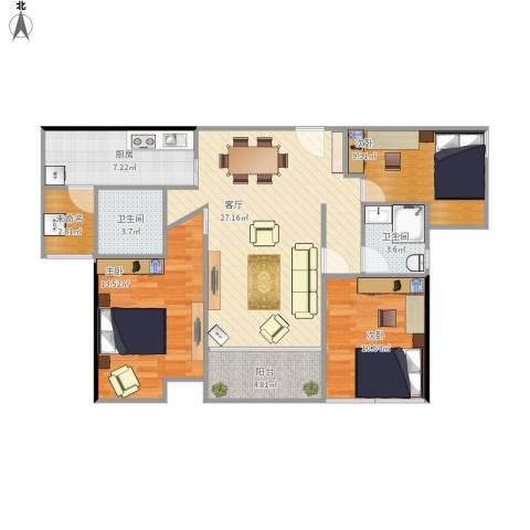 海伦堡3室1厅2卫1厨112.00㎡户型图