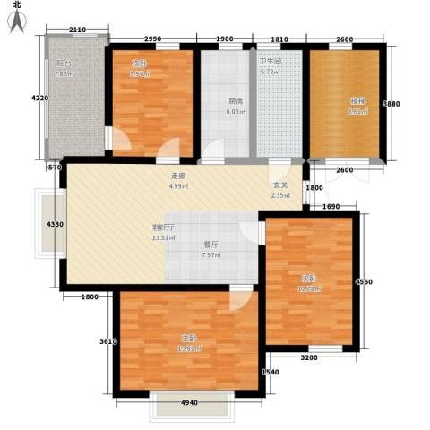 卓越玫瑰园3室1厅1卫1厨101.00㎡户型图