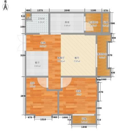 重庆国际家纺城绣色2室1厅1卫1厨44.00㎡户型图