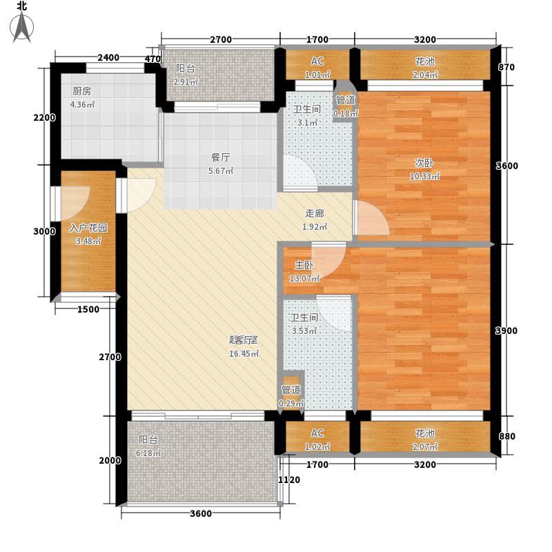 亿城江湾绿洲93.00㎡B-2b户型3室