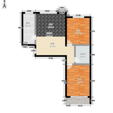 博鑫翰城2室0厅1卫1厨90.00㎡户型图