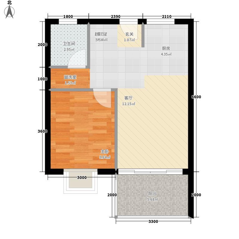亿城江湾绿洲55.00㎡A-1b户型1室2厅