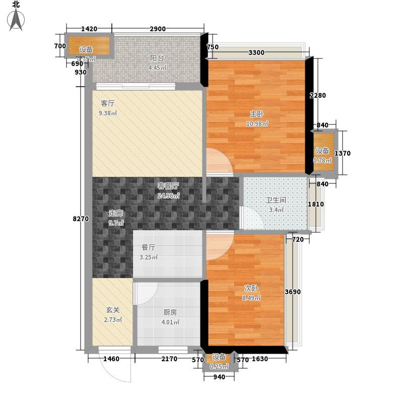 达美D6区70.68㎡户型2室2厅