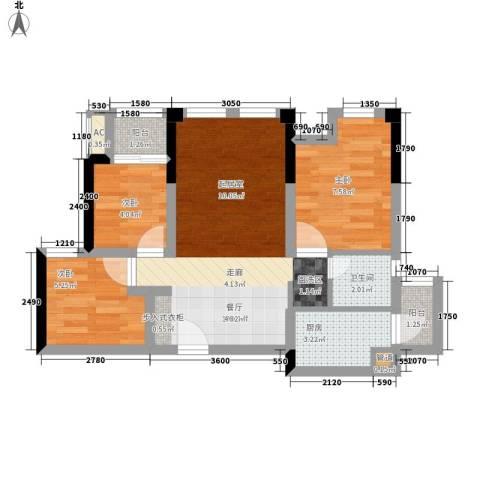 仁安龙城国际三期3室1厅1卫1厨69.00㎡户型图