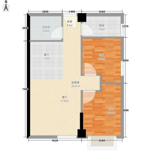 海联时代广场2室0厅1卫1厨69.00㎡户型图