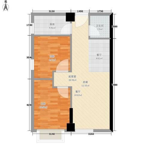 海联时代广场2室0厅1卫1厨61.00㎡户型图