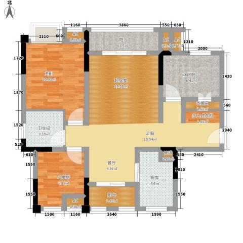 仁安龙城国际三期2室0厅1卫1厨72.00㎡户型图