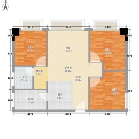 海联时代广场3室0厅1卫1厨80.00㎡户型图