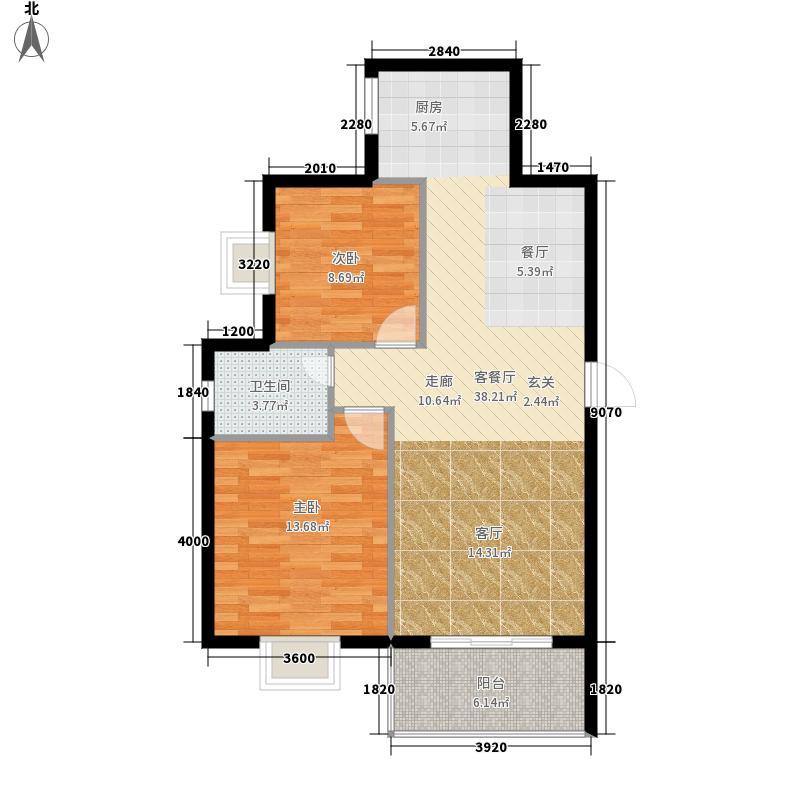 碧水天湾93.34㎡4单元B户型 93.34平米户型3室2厅1卫