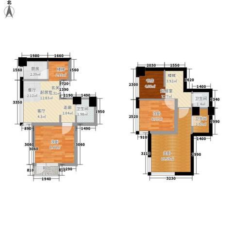 万豪君悦府3室0厅3卫1厨54.75㎡户型图