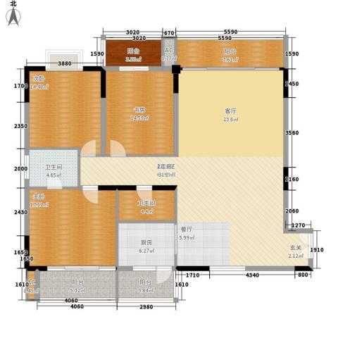敬业大厦3室0厅2卫1厨164.00㎡户型图