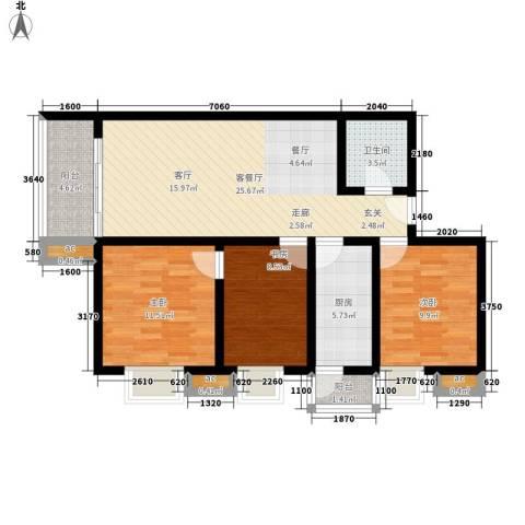 名流水晶宫3室1厅1卫1厨105.00㎡户型图