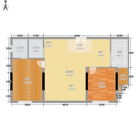 敬业大厦2室0厅2卫1厨94.00㎡户型图