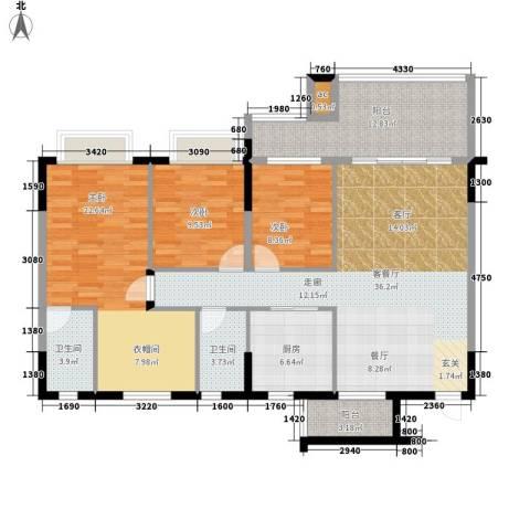 新天美地花园3室1厅2卫1厨121.00㎡户型图