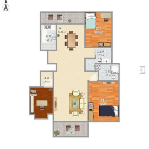 华府国际3室1厅3卫1厨126.00㎡户型图