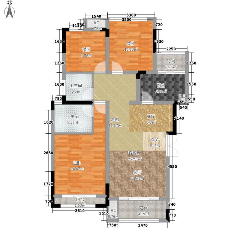 首信皇冠假日107.30㎡一期洋房9/10号楼标准层A2-7-1户型2室2厅