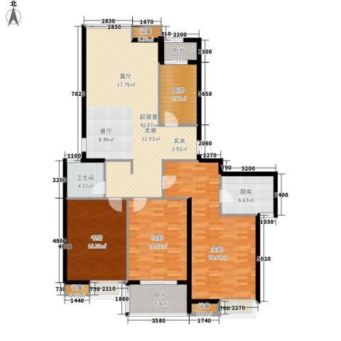 中建文化城3室0厅1卫2厨144.00㎡户型图