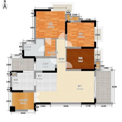 北城阳光今典3室1厅2卫1厨104.00㎡户型图