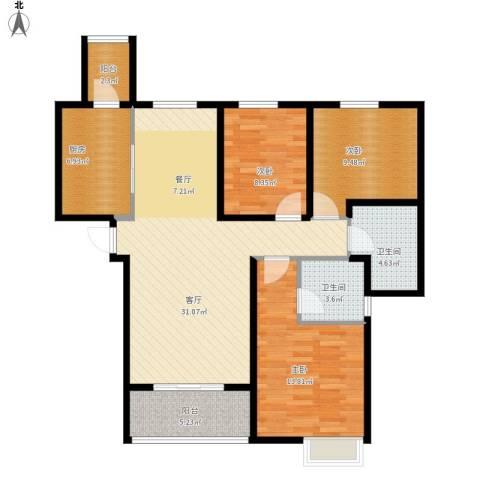 恒大名都3室1厅2卫1厨121.00㎡户型图