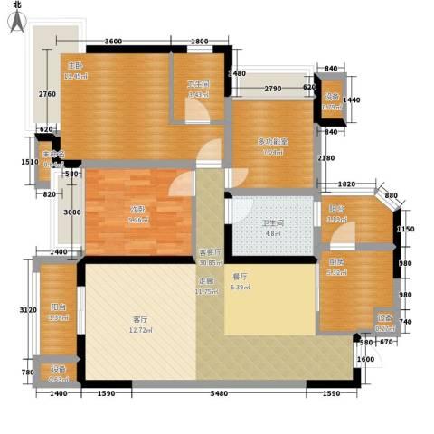 中海北滨华庭2室1厅2卫1厨85.00㎡户型图