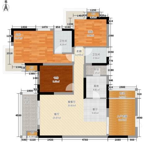 北城阳光今典3室1厅2卫1厨103.14㎡户型图