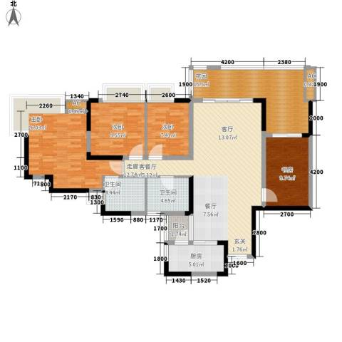 北城阳光今典4室1厅2卫1厨115.00㎡户型图