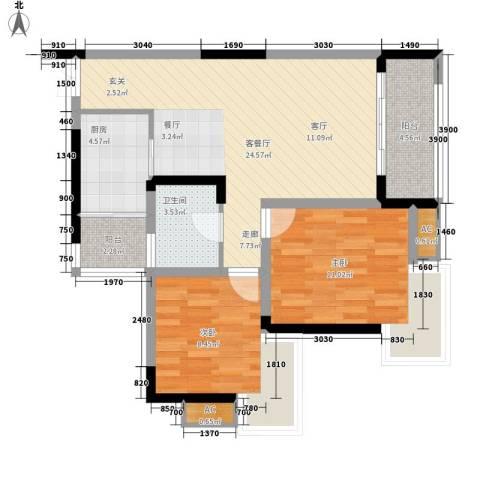北城阳光今典2室1厅1卫1厨64.00㎡户型图