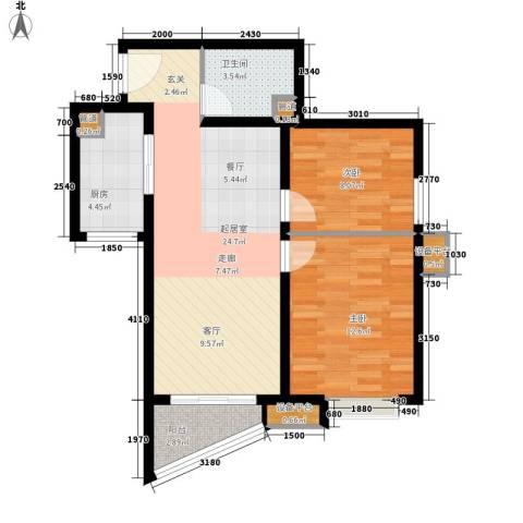 东壹区2室0厅1卫1厨67.39㎡户型图