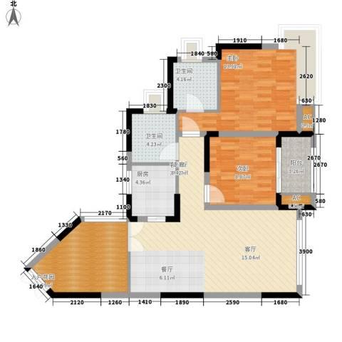 北城阳光今典2室1厅2卫1厨91.91㎡户型图