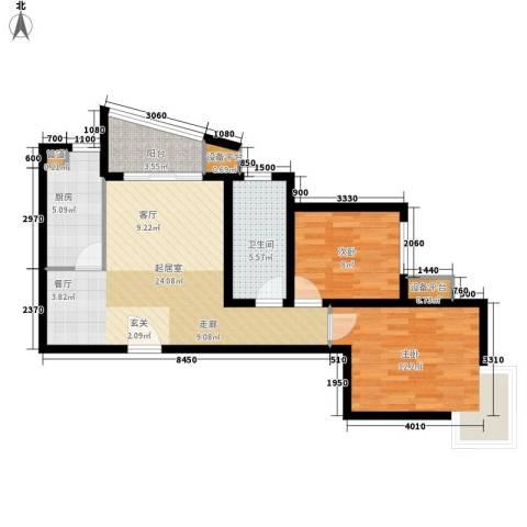 东壹区2室0厅1卫1厨70.25㎡户型图