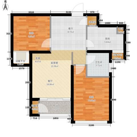 东壹区2室0厅1卫1厨70.63㎡户型图