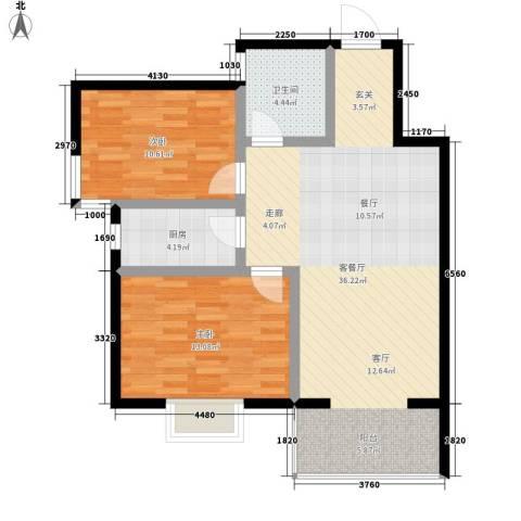 碧水蓝湾2室1厅1卫1厨78.00㎡户型图