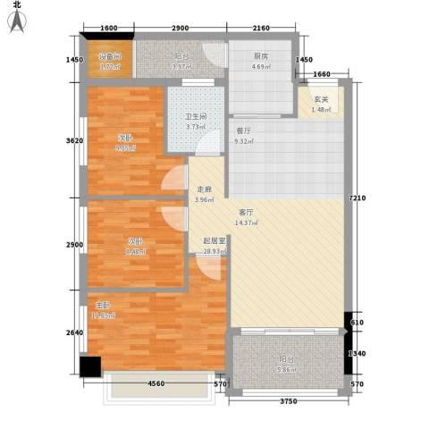 海联时代广场3室0厅1卫1厨88.00㎡户型图