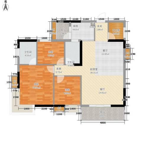 金科桦林景苑3室0厅2卫1厨150.00㎡户型图