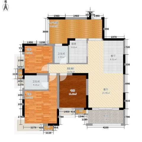 北城阳光今典3室1厅2卫1厨105.00㎡户型图