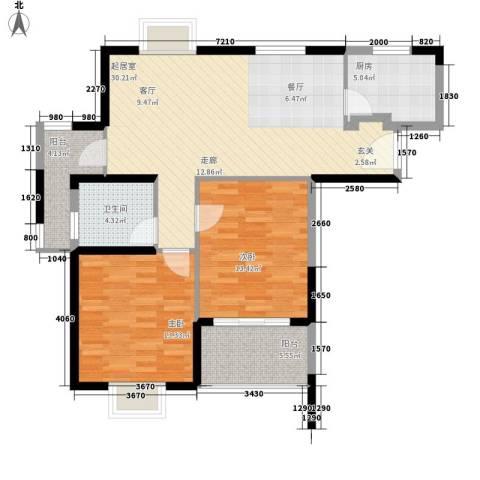 胥口新村2室0厅1卫1厨86.00㎡户型图