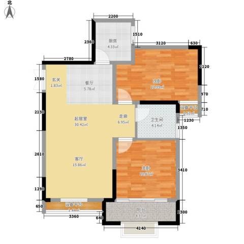 名都名泰阁2室0厅1卫1厨93.00㎡户型图