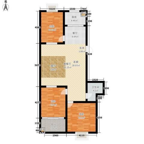红园小区3室1厅1卫1厨115.00㎡户型图