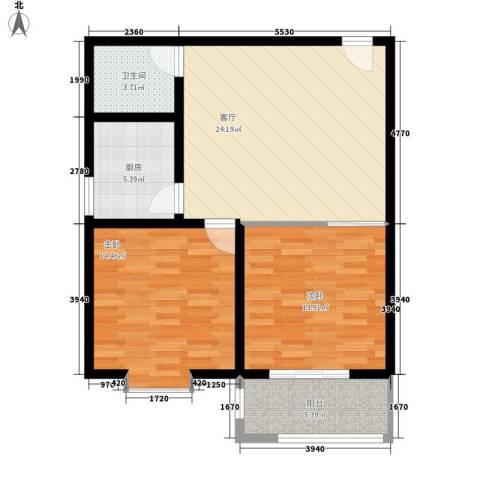 中和盛景2室1厅1卫1厨76.00㎡户型图