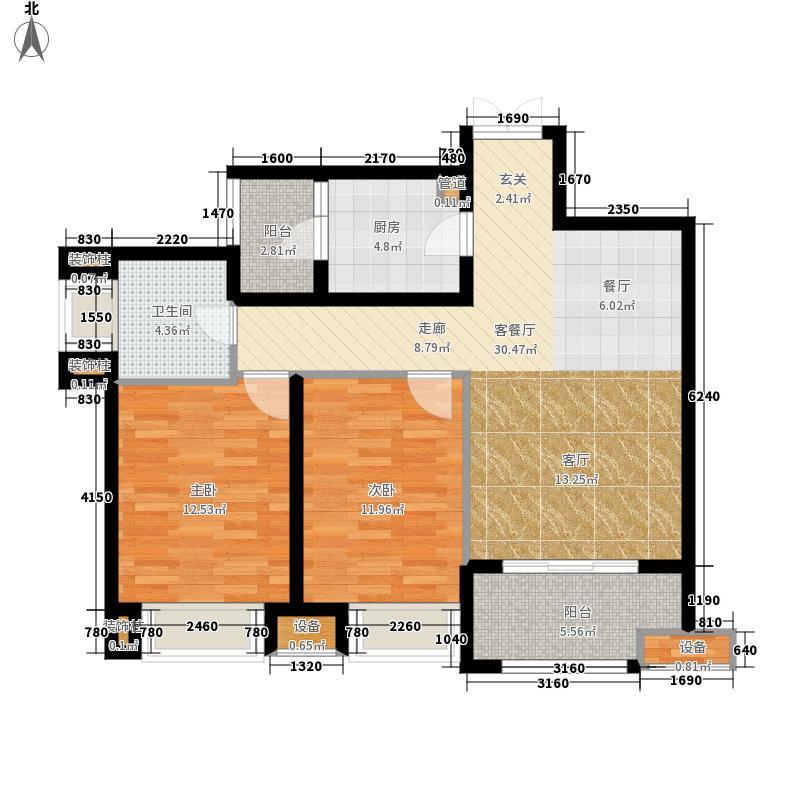 龙湖两江新宸三层小高层约73户型2室2厅