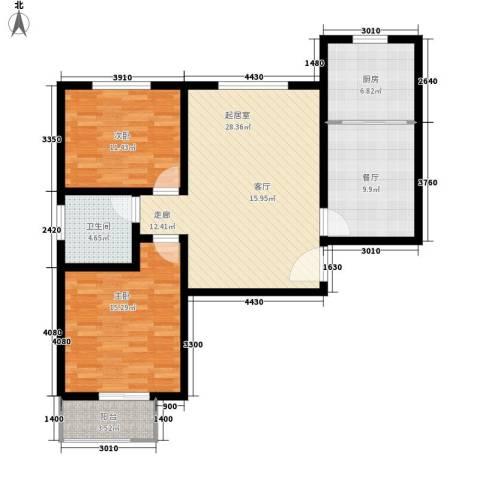 中和盛景2室1厅1卫1厨91.00㎡户型图
