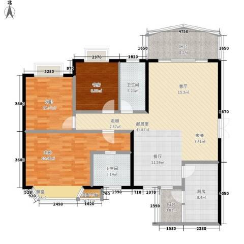 名都名泰阁3室0厅2卫1厨126.00㎡户型图