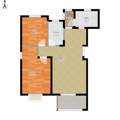 富兴御园2室1厅1卫1厨92.00㎡户型图