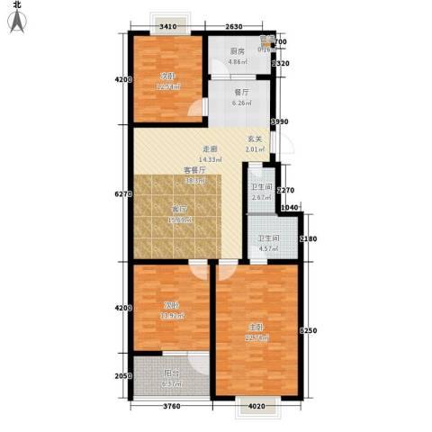 红园小区3室1厅2卫1厨122.00㎡户型图