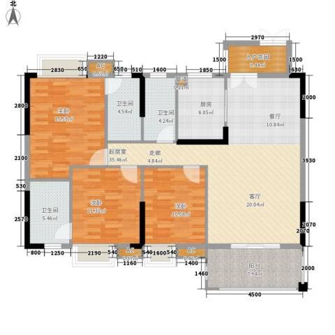 中恒公园大地花园3室0厅3卫1厨128.00㎡户型图